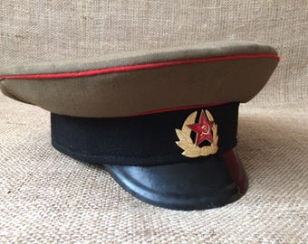 Soviet hat Army hat Military hat USSR hat Officer cap Soviet cap Russian cap Made in USSR Original cap Military collectable Soviet union