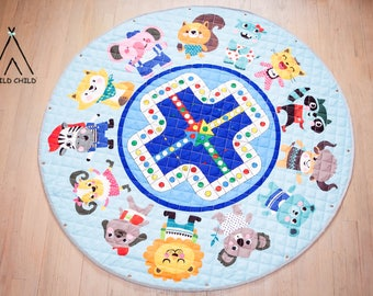 Animals Print, pack and play, toy organizer, Lego organizer, storage, Cotton, Anti-slip, Kids Room Décor, Play Mat, toys bag, play time