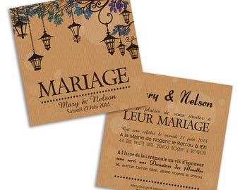 50 x lanterns wedding invitation