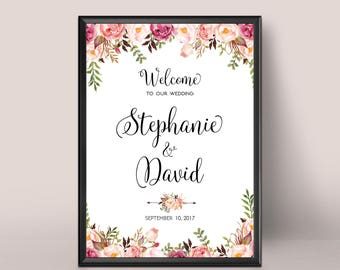 Wedding Welcome Sign, Rustic Wedding Decor, Printable Wedding Sign, Floral Wedding Sign, Reception Sign, Bohemian Wedding Sign, Custom sign