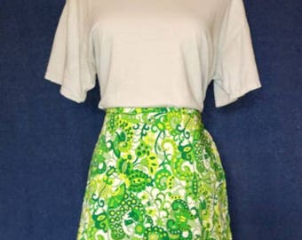 VINTAGE 1960s Funky Floral Paisley Mini Skirt - Emerald & Jade