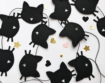 Cat Paper Garland Black Cat Birthday Party Decorations Bachelorette Party Decoration Kitten Birthday Garland Meow Birthday Banner Girls Room