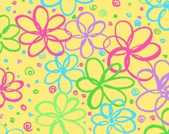 Bloom Bright Doodle Flowers on Yellow Ditsy Floral Metre Cotton Fabric by P&B (UK)
