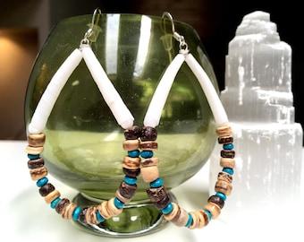 Dentalium Shell Earrings with Wood Beads