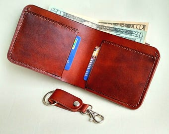 Thin leather bifold with elastic band and excellent keychain valentine's gift! Special offer! One lot - 2 products!