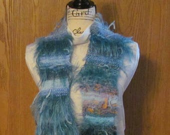 Knit Scarf of Unique, Funky Yarn