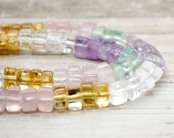 Multi-Color Transparent Quartz Trangle Beads (5mm x 8mm)