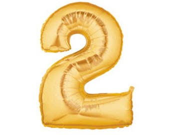 Number 2 Jumbo Gold Balloon - Gold 2nd Birthday Party Decorations
