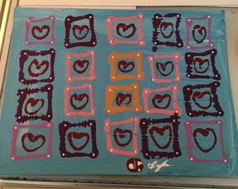 Blue Square Hearts