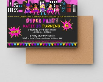 Superhero Invite, superhero party, girls superhero party, Printable File, girls invitation, girls superhero, best seller, Printable file