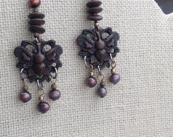 Bronze Butterfly Earrings - Vintage
