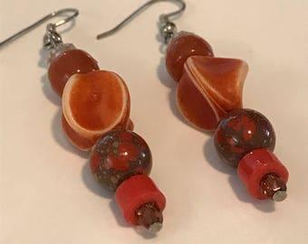 Red and Orange Bead Earrings, Handmade, Vintage