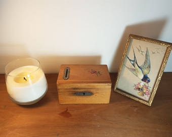 Vintage antique wooden trinket box