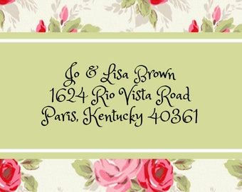 Pink & Red Roses Address Labels