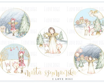 Christmas Angel, Printable download Christmas tags, digital collage sheet, images paper goods, greetings cards, I love digi