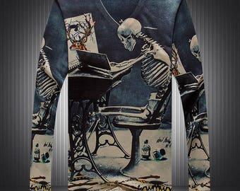 New Fashion Mens 3D Cool Print Long sleeve skeleton T-Shirt M-3XL MEN