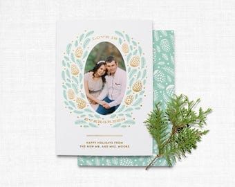 Newlywed Christmas Card Template | Holiday Photo Card Template | Christmas Photo Card Template | INSTANT DOWNLOAD