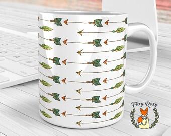 Arrows Pattern Mug, Watercolor Arrows, Watercolor Ceramic, Boho Style Mug, Bohemian Arrows, Green Arrows Mug, CM-076