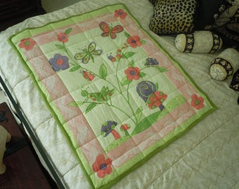 Baby Blanket, Quilt Green Garden Butterfly Ladybug