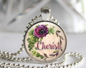 Cherish Whimsy Wine Glass Tile Silver Bezel Pendant Necklace, Inspirational Word Wedding Jewelry