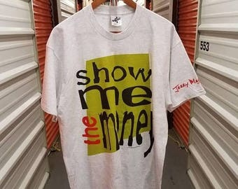 "12% Back To School Sale RARE Vintage Original 90's Jerry Maguire Movie ""Show Me The Money"" T-Shirt. Adult Size XL."