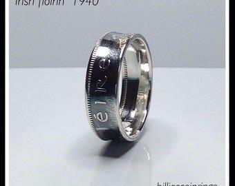 Silver Irish flóirin 1940 Coin ring
