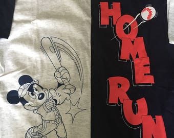 Disney Vtg 90s Mickey Mouse Home Run Two-Tone Baseball Shirt SM/MD NWT
