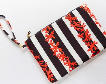 black white coral stripe clutch red coral clutch color lined bag handmade clutch with strap metal zipper black white design bag 11,8'' x 9''