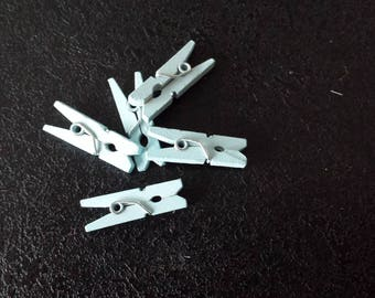 set of 5 mini Blue clothespins