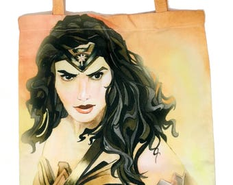 Wonder Woman Bag, Gal Gadot Wonder Woman Accessories, Watercolor Wonder Woman Tote, Canvas Art Tote, Geeky Gift Idea, Superhero Tote Bag