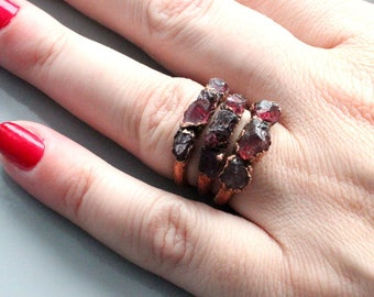 Tourmaline ring, electroformed crystal, electroforming jewelry, stecking rings, raw tourmaline  , multistone ring, bohemian ring, for mom