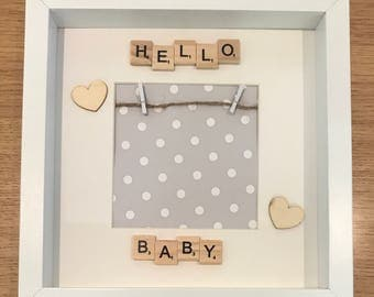 Baby scan scrabble frame, Hello baby frame, first photo frame, baby gift, new Baby photo, baby keepsake frame, hello baby