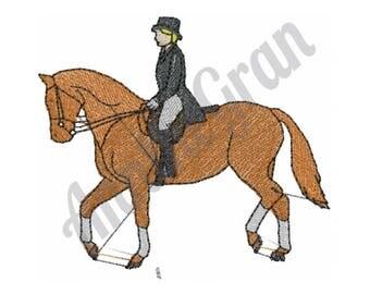 Horse - Machine Embroidery Design, Lady Dressage - Machine Embroidery Design