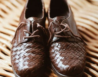 Vintage Handmade Woven Leather Oxford Shoes