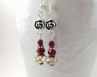 Silver rose and crystal Valentine earrings - red and champagne