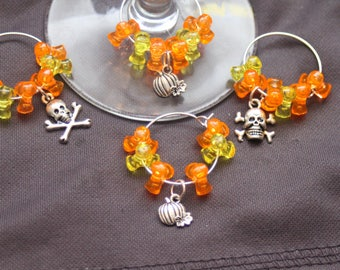 Set of 4 Halloween Themed Wine Glass Charms