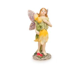 "Yellow Flower Fairy, 1.5"" x 3.5"" x 1.75"" - Miniature Fairy Garden Dollhouse"