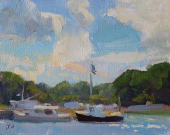 Original 8x10 Impressionist Painting Boatin' Lake or Ocean Scene Patriotic American Flag Celebration Summertime Art Painting Landscape
