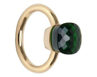 Ring with green hydro quartz, square shape les bobos