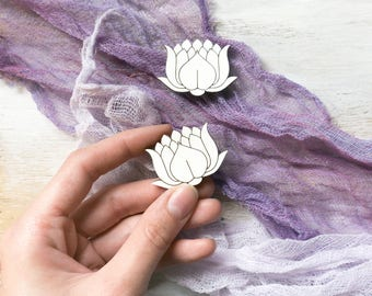 White Lotos Flower Wooden Brooch by WoodBrooch