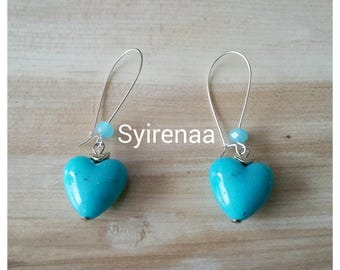 Heart Earrings blue with small beads