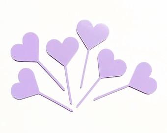 6 x love heart cupcake toppers in purple acylic