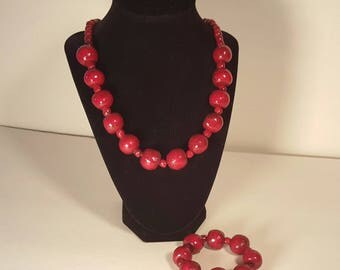 Red wooden necklace