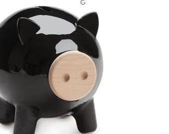 Black piggy bank, ceramic piggy bank, big piggy bank, adult piggy bank, living room decor, housewarming gift, home decor, wedding gift, PIGZ