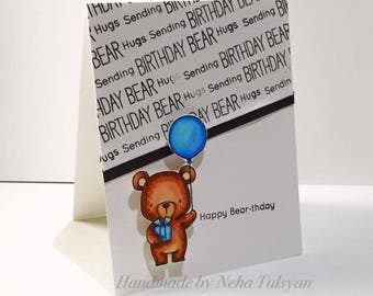"Happy Birthday Card - Bear Holding Balloon Birthday Card - A2 (4.25*5.5) size Happy Birthday card - ""Happy Bear-thday"" Greeting Card"