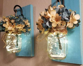 Set of 2 distressed scones with mason jars, rustic decor, hanging wall scones, jars with lights, home living, gifts, scones with hydrangeas