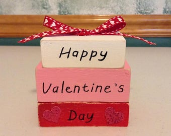 Happy Valentine's Day Distressed Wooden Blocks Valentine's Gift Or Home Decor