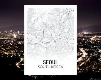 Seoul South Korea Map Print