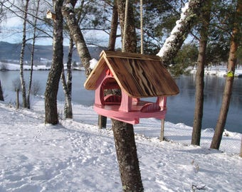 bird feeder house, bird house, to hang,pink, personalisable