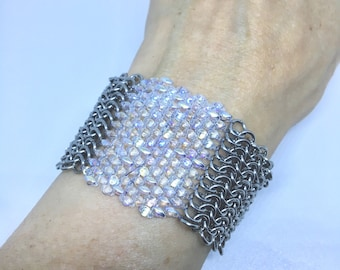 Steel chainmail cuff and glass beads, clasp chainmaille bracelet